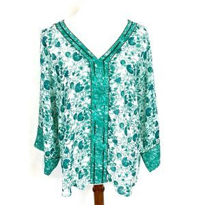 Chico's floral tunic with sequins and bead trim